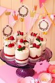holiday buffet souffle in glasses with berries