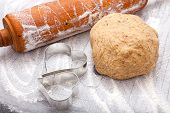 Rolling Pin, Cookie Cutter And A Dough Ball