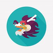 Chinese New Year Flat Icon With Long Shadow,eps10,the Dragon And Lion Dancing Head