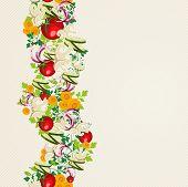 Organic Vegetables Seamless Pattern Background