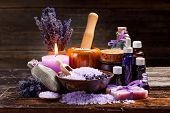 foto of sachets  - Lavender bath items on wooden background - JPG