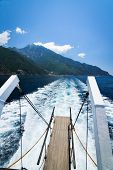 Mount Athos Greece From The Ship In Sea