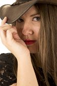 Woman Hand Hat Close To Face Serious