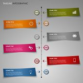 Time Line Info Graphic Color Striped Paper Template