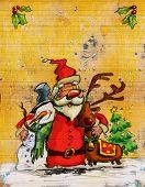 Cartoon Santa Claus Big Christmas Hug With Snowman And Reindeer