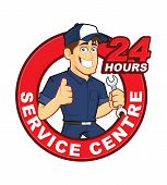 pic of cartoon character  - Clipart picture of a mechanic cartoon character with 24 hours service centre - JPG