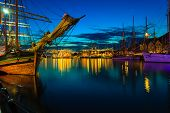 picture of tall ship  - Sailing ships in the harbour during the tall ships races Bergen Norway - JPG