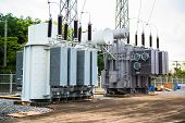 pic of transformer  - Transformer station and the high voltage electric pole - JPG