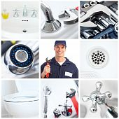 stock photo of plumber  - Young plumber fixing a sink - JPG