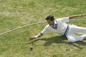 picture of cricket ball  - Cricket fielder diving to stop a ball near boundary line - JPG