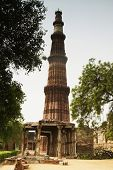 stock photo of qutub minar  - Low angle view of a minaret - JPG