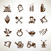 pic of meat icon  - farm and agriculture concept vector icons collection - JPG