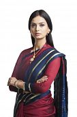 stock photo of sari  - Traditionally Indian woman posing in sari - JPG