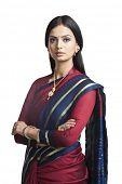 image of indian sari  - Traditionally Indian woman posing in sari - JPG
