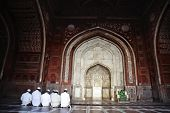 stock photo of namaz  - Muslim men praying in the mosque - JPG