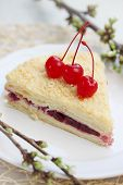 stock photo of bonaparte  - Napoleon cake with cherries on a plate - JPG