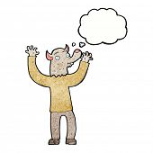 picture of werewolf  - cartoon happy werewolf man with thought bubble - JPG