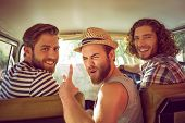 picture of happy day  - Hipster friends on road trip on a summers day - JPG