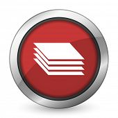 stock photo of gage  - layers red icon gages sign  - JPG
