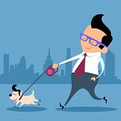 image of working-dogs  - Businessman walking a dog pet office worker - JPG