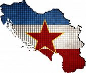 stock photo of yugoslavia  - Abstract Mosaic Flag and map of Yugoslavia,  Yugoslavia grunge mosaic flag - JPG