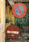 pic of traffic signal  - Old traffic signals Old traffic signals on a facade - JPG