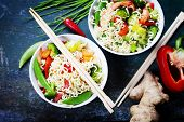 stock photo of chinese food  - Chinese noodles with vegetables and shrimps - JPG