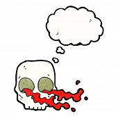 foto of grossed out  - cartoon gross skull with thought bubble - JPG