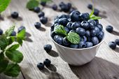 stock photo of fruit bowl  - Blueberry antioxidant organic superfood in a bowl concept for healthy eating and nutrition - JPG