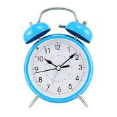 picture of analog clock  - Blue alarm clock isolated over the white background - JPG