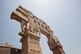 image of ashoka  - Carved gateway to the Great Stupa built by Ashoka the Great at Sanchi - JPG
