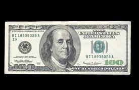 stock photo of one hundred dollar bill  - A 100 dollar bill - JPG