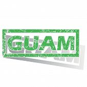 picture of guam  - Green stamp with name Guam and shadow - JPG