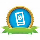 stock photo of bitcoin  - Certificate seal with image of bitcoin symbol on phone screen - JPG