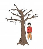 stock photo of gallows  - hangman and the tree on white background sketch isolated - JPG