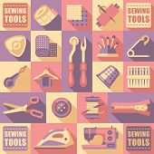 foto of tailoring  - Sewing tailoring and needlework decorative icons set isolated vector illustration - JPG