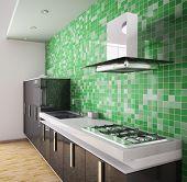 3D Interior cocina negro