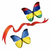 picture of mauritius  - Two butterflies fluttering with flags of Ukraine and the Mauritius - JPG