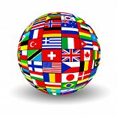 picture of flags world  - The sphere consisting of national flags of countries of the world on white background - JPG