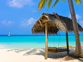 stock photo of kuramathi  - Swing on a tropical beach  - JPG