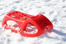 stock photo of rebs  - reb sled in the snow in mountains in winter - JPG
