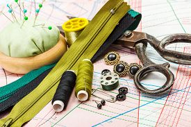 pic of zipper  - Green sewing accessories - JPG