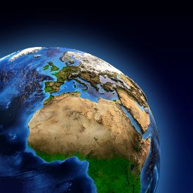 picture of landforms  - Detailed picture of the Earth and its landforms view of European African and Asian continent - JPG