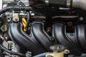 stock photo of muscle-car  - Close Up Of Car Engine in the car - JPG