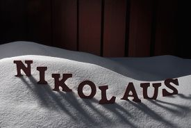 image of letters to santa claus  - Red Wooden Letters Building German Word Nikolaus Means Santa Claus - JPG