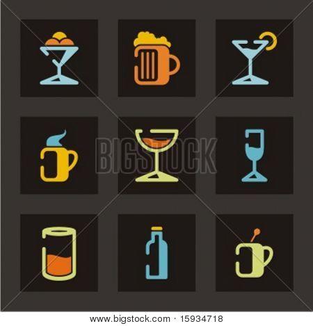 Постер, плакат: Набор иконок ресторан Напитки Проверить мое портфолио для гораздо больше из этой серии а также тысячи o, холст на подрамнике