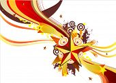 Abstract background with star and music elements.