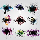 Establecer el elemento de diseño de grunge. Colorida bandera