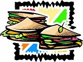 A vector illustration of sandwiches.