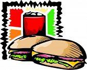 A vector illustration of a hamburger and a drink.